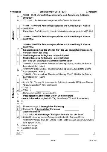 2. Schulhalbjahr 2012/13 - Privates Johannes-Gymnasium  Lahnstein