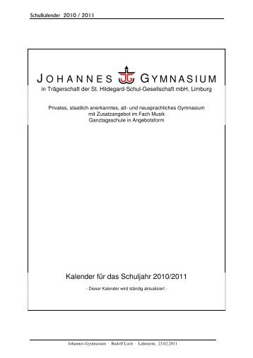 Schulkalender 2010_2011 Homepage - 07.02.2011 - Privates ...