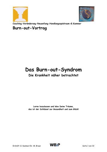 Burn out Vortrag - Handout - WB&P Wirth, Bollhalder & Partner AG
