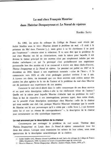 Le mal chez François Mauriac dans Thérèse Desqueyroux