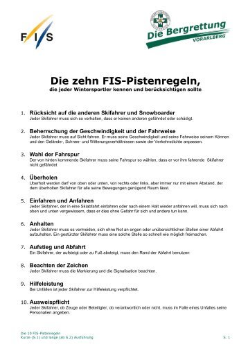 Die zehn Fis-Pistenregeln,