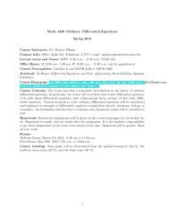 Math 4430 Ordinary Differential Equations - University of Colorado ...