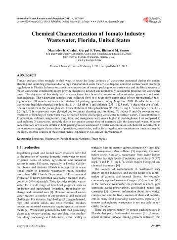 Chemical Characterization of Tomato Industry Wastewater, Florida ...