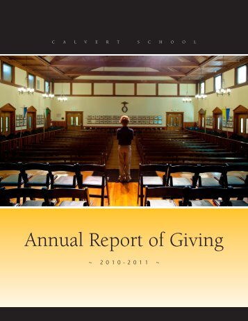 Annual Report of Giving - Calvert School