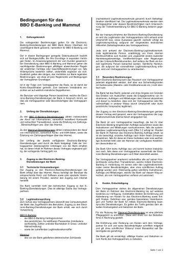 BBO E-Banking Bedingungen - Bank Brienz Oberhasli
