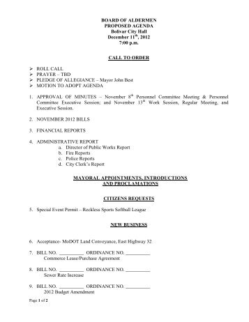 BOARD OF ALDERMEN PROPOSED AGENDA Bolivar City Hall ...