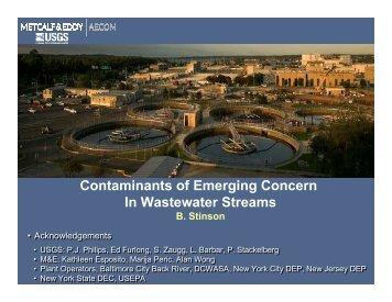 Contaminants of Emerging Concern In Wastewater Streams