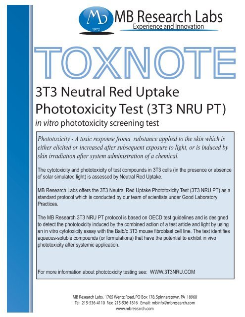 3T3 Neutral Red Uptake Assay - MB Research Laboratories