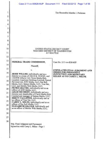 Stipulated Final Judgment and Order - Federal Trade Commission