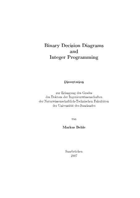Binary Decision Diagrams And Integer Programming