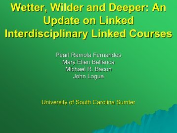Wetter, Wilder and Deeper: An Update on Linked ... - SENCER