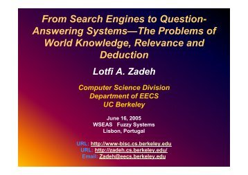 From Search Engines to Question- Answering Systems—The - WSEAS