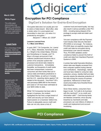 Encryption for PCI Compliance - Digicert
