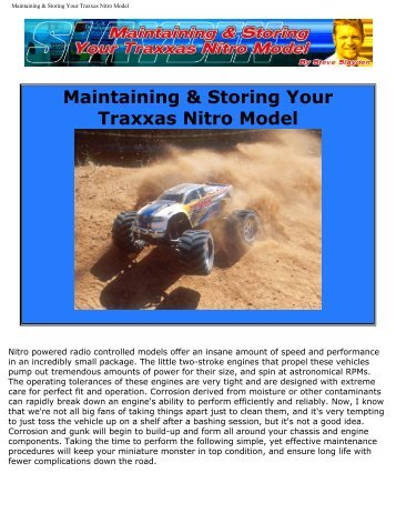 Maintaining & Storing Your Traxxas Nitro Model - Minicars Hobby AB