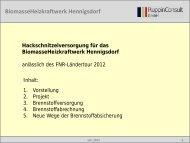 Hackschnitzelversorgung für das BiomasseHeizkraftwerk Hennigsdorf