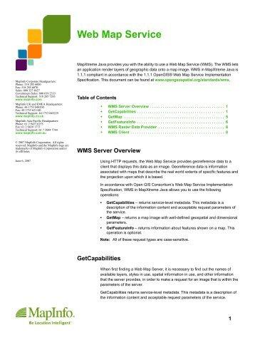 Web Map Service - MapInfo