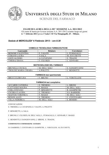 Calendario Laurea Unimi.Farmacia Unimi It Magazines