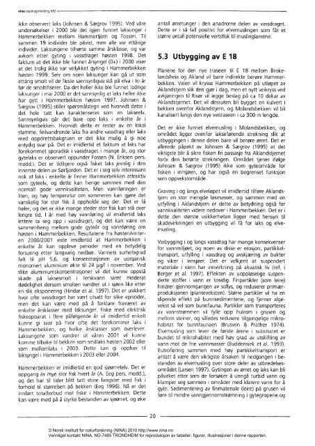 Bestandssituasjon for laks og elvemusling i Hammerbekken ... - Nina