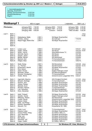 Verband Lange Strecke - Schwimmverband Rhein-Wupper eV