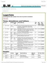 Lagerliste - B+M Haus- und Agrotech AG