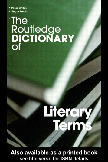 The Routledge Dictionary of Literary Terms