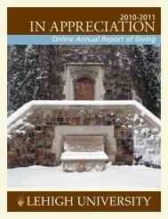 IN APPRECIATION - Lehigh University