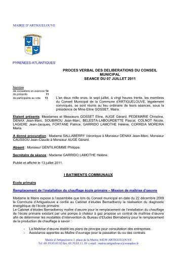 proces verbal des deliberations du conseil municipal ... - Artiguelouve