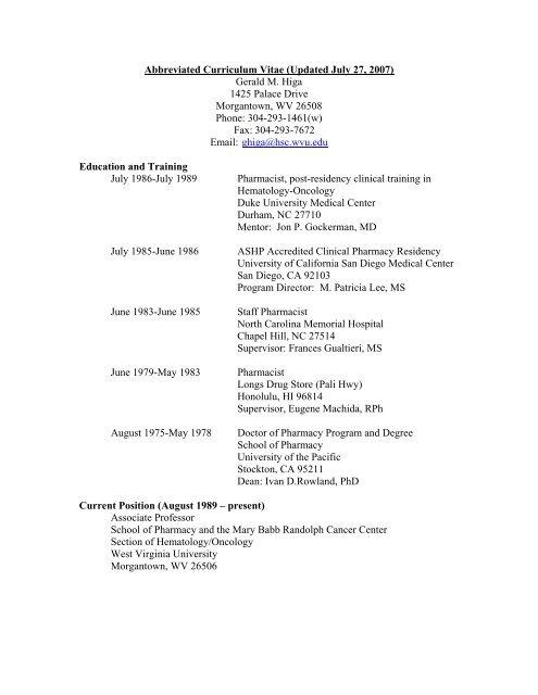 Link to Full CV - PDF - School of Pharmacy - West Virginia
