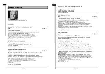 Leonard Bernstein - Boosey & Hawkes