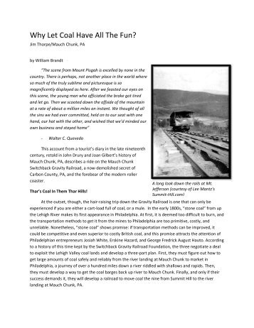 Mauch Chunk Switchback Railway - Penn State Personal Web Server