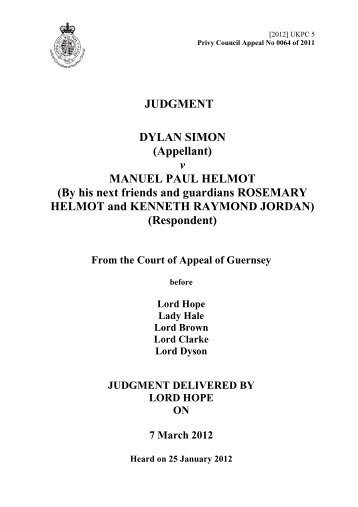 Dylan Simon v Manuel Paul Helmot - Judicial Committee of the Privy ...