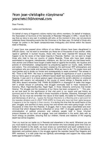 01/2003 Letter of Jean-Christophe Nizeyimana - Akagera-Rhein eV
