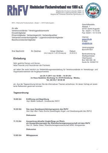 Einladung - Rheinischer Fischereiverband von 1880 eV