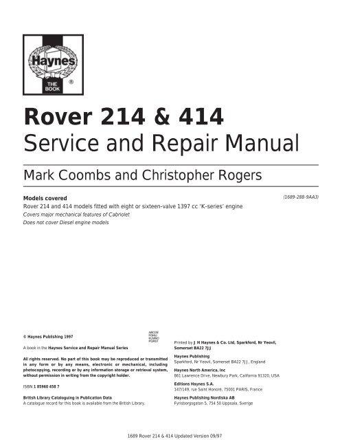 rover 214 \u0026 414 service and repair manual rover club Rover 414 Fuse Box Location
