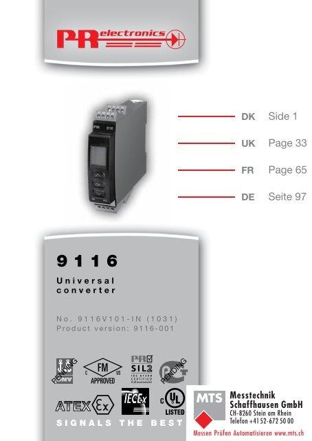 Bedienungsanleitung, Manuel, Manual, Manuale, 9116, PR - MTS ...