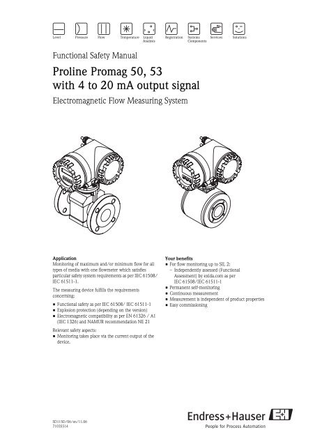 Proline Promag 50, 53 with 4 to 20 mA output signal - Endress+