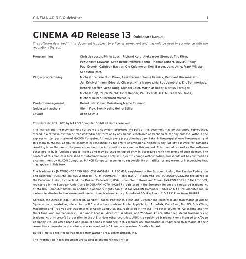 CINEMA 4D Release 13 Quickstart Manual - Maxon Computer
