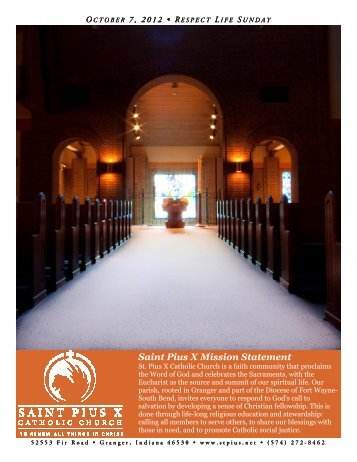Saint Pius X Mission Statement - Saint Pius X Catholic Church