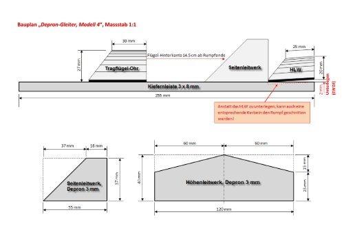 bauplan depron gleiter modell 4 massstab 1 1. Black Bedroom Furniture Sets. Home Design Ideas