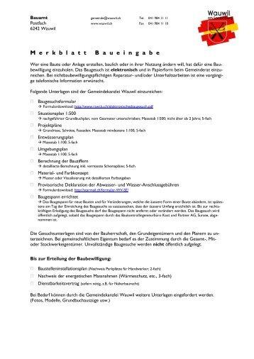 Merkblatt Baueingabe - Gemeinde Wauwil