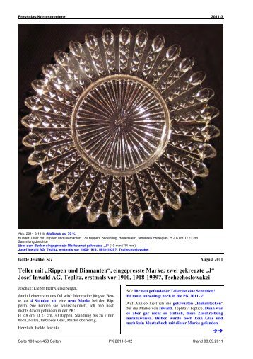 Rippen und Diamanten - Pressglas-Korrespondenz