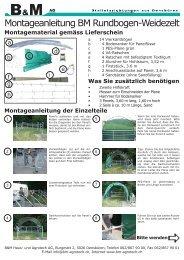 Montageanleitung der Einzelteile - B+M Haus- und Agrotech AG