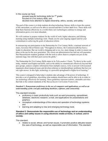 Mass Tech Standards - TeacherWeb