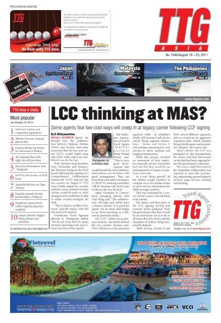 LCC thinking at MAS? - TTG Asia