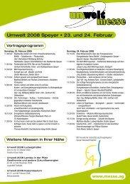 Umwelt 2008 Speyer • 23. und 24. Februar - Energieagentur Speyer ...