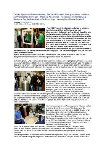 26.01.2009 - Zweite Speyerer Umweltmesse; Speyer Heute