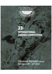 18ème Concours international de chant de ... - Le Centre lyrique