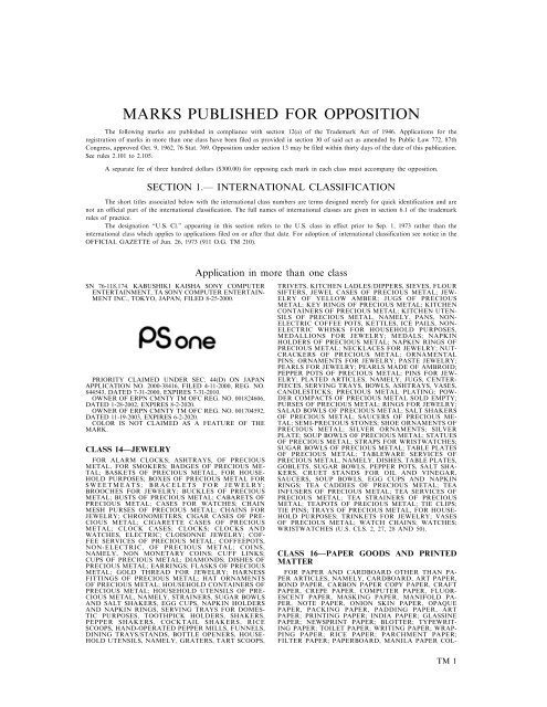 MARKS PUBLISHED FOR OPPOSITION - U.S. Patent and ...