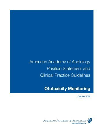 American Academy of Audiology Position Statement and Clinical ...