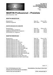 MARTIN Professional Preisliste - Crazy Events Veranstaltungstechnik
